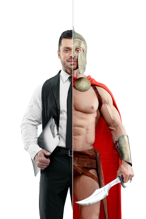 Foto de Comparison of manager and ancient warriors outlook. Manager wearing classic white shirt with black tie and keeping black folder. Ancient Spartan warrior wearing red cape and holding a matallic sword. - Imagen libre de derechos