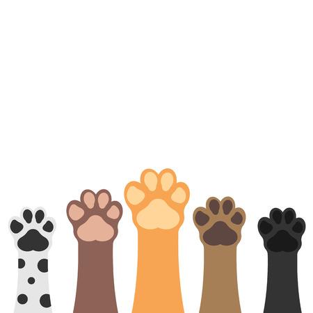 Illustration pour Paws up pets set isolated on white background. Vector illustration. - image libre de droit