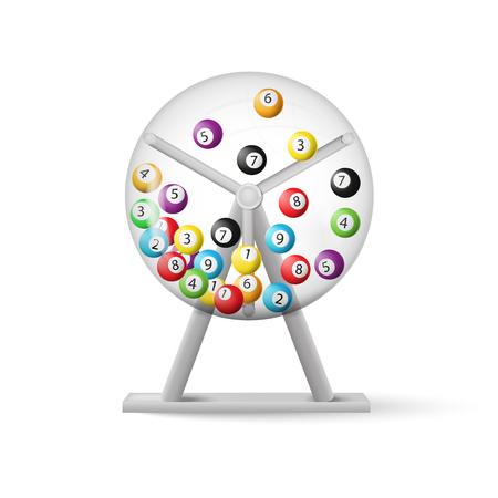 Ilustración de 3d rendering of lottery machine with balls inside isolated on white background. Vector illustration. Eps 10. - Imagen libre de derechos