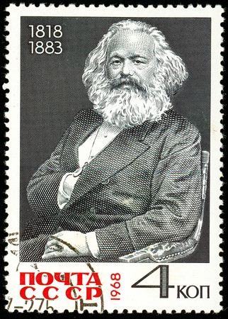 Foto de Ukraine - circa 2018: A postage stamp printed in USSR show Karl Heinrich Marx is a German philosopher, sociologist, economist, writer, poet, political journalist, public figure. Circa 1968. - Imagen libre de derechos
