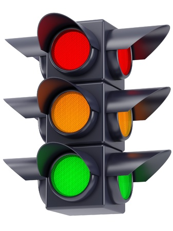 the traffic lights with red, yellow and green light