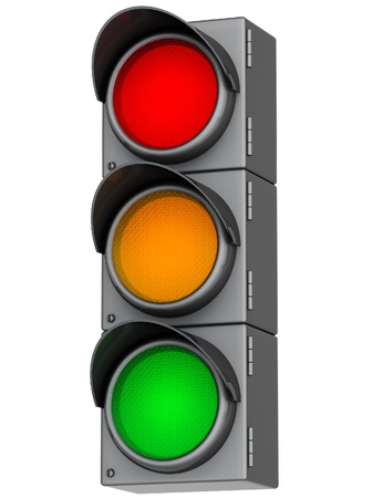 grey traffic lights with red, yellow and green light