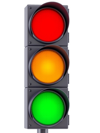 traffic lights with red, yellow and green lights on white background