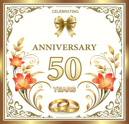 Illustration for 50th wedding anniversary - Royalty Free Image