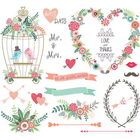Photo pour Wedding Floral love BirdLaurelsWedding invitation collections. - image libre de droit