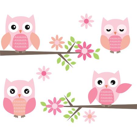 Illustration pour Cut Owl and Branches - image libre de droit