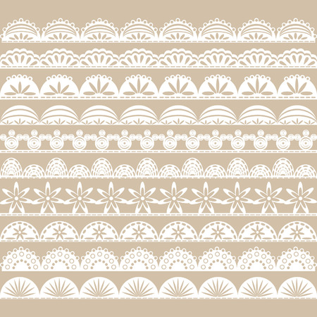 Illustration pour White Lace Border set - image libre de droit