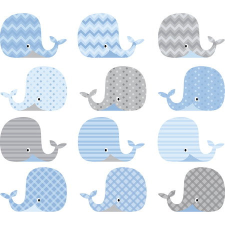 Illustration for Blue and Grey Cute Whale Collections - Royalty Free Image
