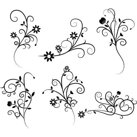 Illustration pour Flower Flourish Swirl set - image libre de droit