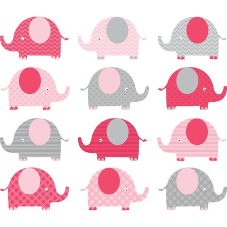 Illustration pour Pink Cute Elephant Collections - image libre de droit