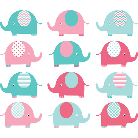 Photo for Pink Aqua Cute Elephant Collections - Royalty Free Image