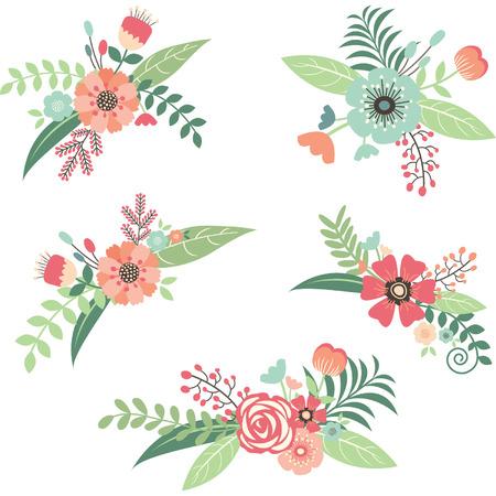 Illustration pour Wedding Flower Bouquet Set - image libre de droit