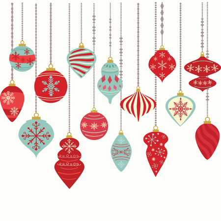 Illustration for Christmas Ornaments,Christmas Balls Decorations,Christmas Hanging Decoration set. - Royalty Free Image