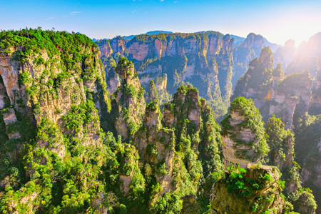 Photo for Colorful cliffs in Zhangjiajie Forest Park at sunset time. China - Royalty Free Image