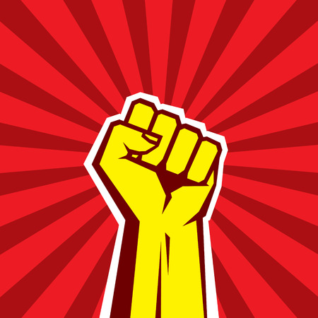 Ilustración de Hand Up Proletarian Revolution - Vector Illustration Concept in Soviet Union Agitation Style. Fist of revolution. Human hand up. Red background. Design element. - Imagen libre de derechos