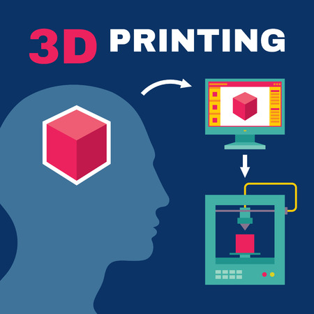 Illustrazione per 3D Printing Process with Human Head - Creative Vector Illustration for presentation, booklet, web blog etc. - Immagini Royalty Free