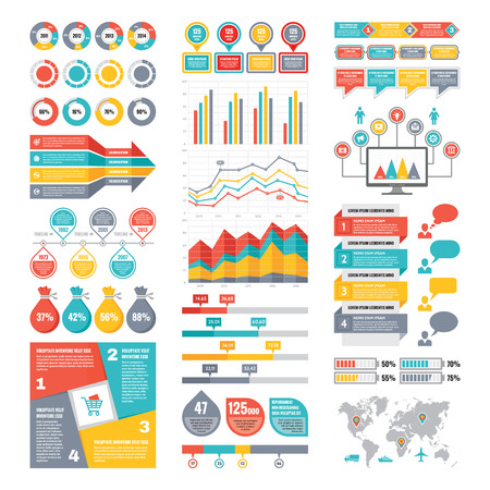 Illustration pour Infographic Elements Collection - Business Vector Illustration in flat design style for presentation, booklet, website etc. Big set of Infographics. - image libre de droit