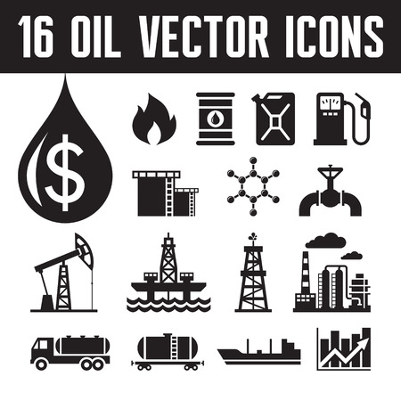 Illustration pour 16 oil industry vector icons for infographic, business presentation, booklet and different design project. Production, transportation and refining of oil - vector icons set. - image libre de droit