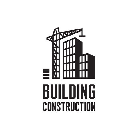 Illustration pour Building construction illustration. Crane and building construction illustration - image libre de droit