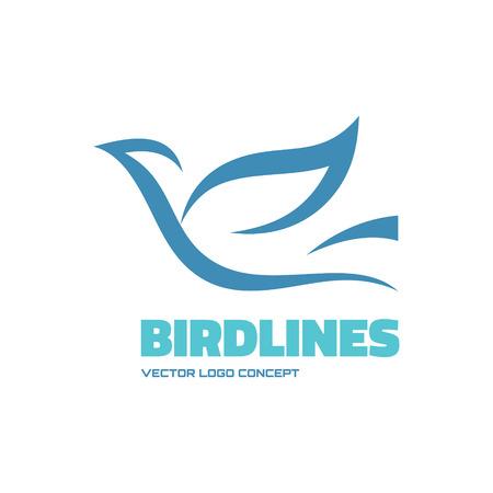Ilustración de Birdlines - vector icon concept illustration. Bird logo. Dove icon. Abstract lines icon. Vector icon icontemplate. Design element. - Imagen libre de derechos