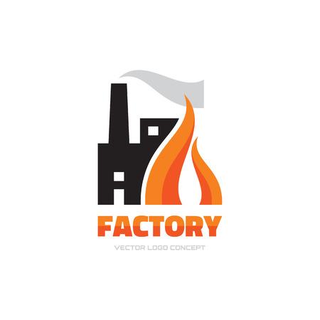 Ilustración de Factory vector logo concept illustration for business company. Industrial factory logo sign illustration. Vector logo template. Design element. - Imagen libre de derechos