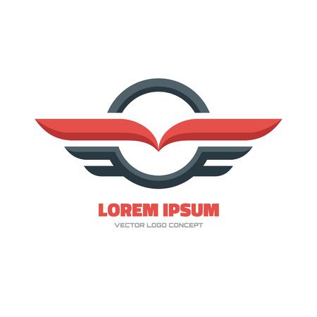 Photo pour Vector logo concept illustration. Circle and wings sign. Vector logo template. Design element. - image libre de droit