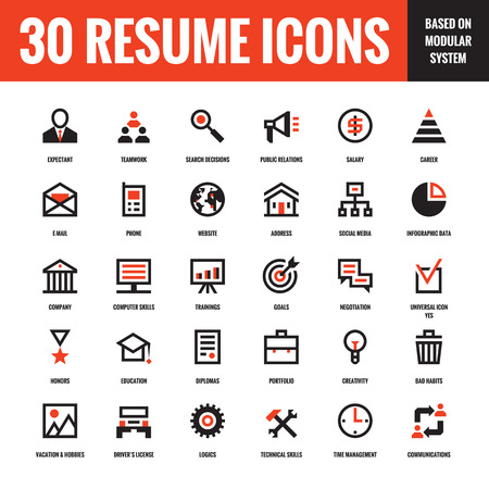Illustration pour 30 resume creative vector icons based on modular system. Set of 30 business concept vector icons for resume, presentation, website and other design and business project. Design elements. - image libre de droit