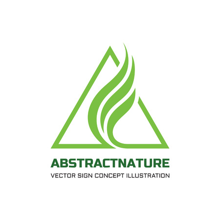 Illustration pour Abstract nature vector logo concept illustration for business company. Abstract green leaves in triangles shape. Triangle sign. Vector logo template. Design element. - image libre de droit