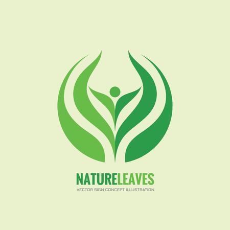 Illustration pour Nature leaves - vector logo concept illustration. Organic logo. Abstract human sign. Vector logo template. Design element. - image libre de droit