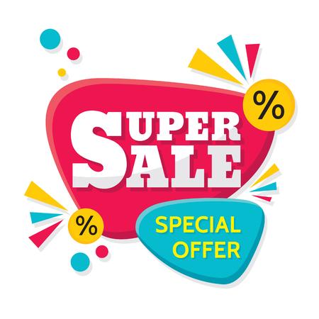 Illustration pour Super Sale - vector creative banner illustration. Abstract concept discount promotion layout on white background. Design elements. - image libre de droit