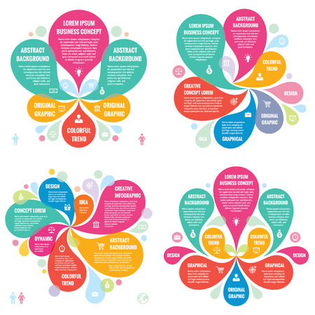 Photo pour Infographic elements template business concept banners for presentation, brochure, website and other design projects. Abstract petals in pastel colors. Infographics creative layout vector set. - image libre de droit