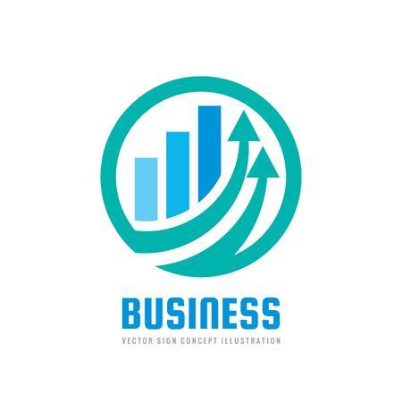 Ilustración de Business finance logo template - vector concept illustration. Economic infographic sign. Arrows and infograph bar. Growth graphic symbol. Investment icon. Design element - Imagen libre de derechos