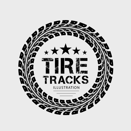 Illustration pour Tire tracks  Illustration on grey background - image libre de droit