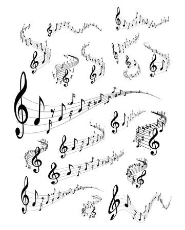 Illustration pour Wavy music staves. Vector set on white background - image libre de droit