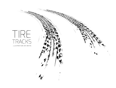 Illustration pour Tire tracks background - image libre de droit