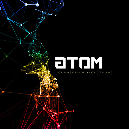 Illustration pour Abstract polygonal space low poly dark background with connecting dots and lines. Connection structure. Vector science background. Polygonal vector background. Futuristic HUD background. - image libre de droit