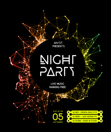 Ilustración de Night Disco Party Poster Background Template - Vector Illustration - Imagen libre de derechos