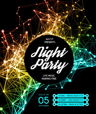 Illustration for Night Disco Party Poster Background Template - Vector Illustration - Royalty Free Image