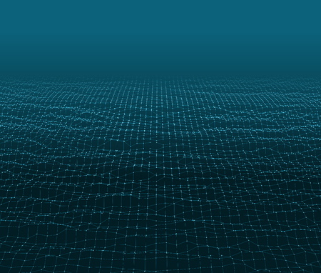 Ilustración de Water Surface. Wavy Grid Background. 3d Abstract Vector Illustration. - Imagen libre de derechos