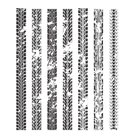 Illustration pour Tire track vector background in black and white style - image libre de droit