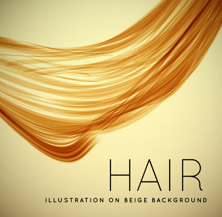 Illustration for Closeup of long human hair with tilt shift effects. Vector illustraion on beige background - Royalty Free Image