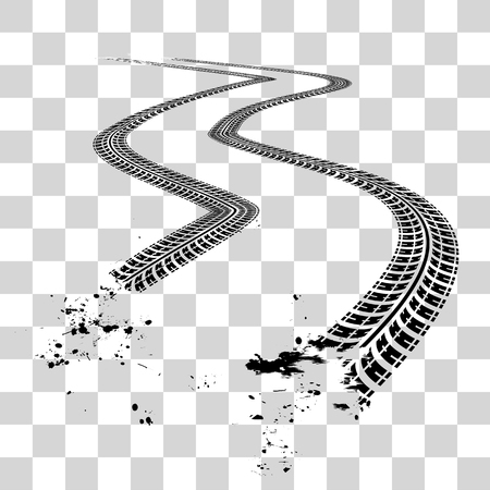 Illustration pour Tire tracks.  Vector illustration on checkered background - image libre de droit