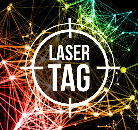 Illustration pour Laser tag with target.on a background of multi-colored laser beams. Vector illustration - image libre de droit