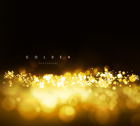 Ilustración de Gold background with bokeh. Vector illustration on dark background - Imagen libre de derechos
