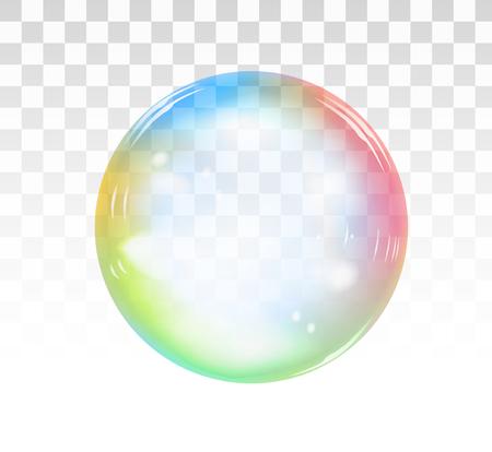 Ilustración de Rainbow soap bubble on a transparent background. Realistic vector illustration - Imagen libre de derechos