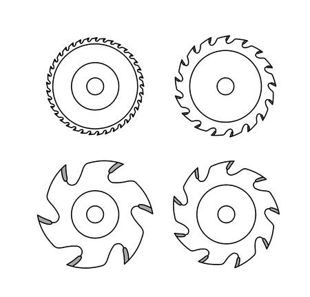 Ilustración de Circular saw blade on white background - Imagen libre de derechos