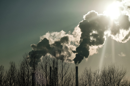 Photo for thick smoke belching from factory chimneys - Royalty Free Image
