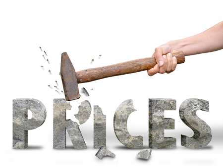 Photo for woman breaking prices for best offer during shopping time - Royalty Free Image