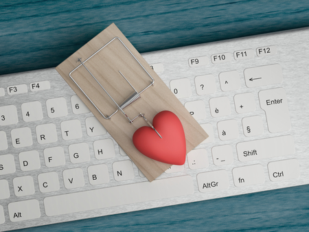 Foto per online cyber love and fraud concept - Immagine Royalty Free