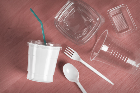 Photo for Cutlery made of disposable plastic - Royalty Free Image
